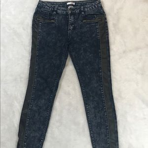 Blue Jeans with faux leather side strip
